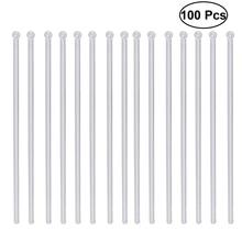 100 шт прозрачные палочки для коктейлей и напитков, пластиковые палочки для перемешивания с круглой головкой