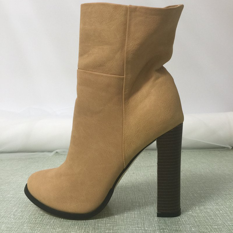 Fashion Round Heels Women Boots Ankle High Round Toe Zapatos Mujer Real Image Rubber Boots Sexy Plus Size 14 Women Boots shofoo women winter snow brown round toe high heels ankle boots shoes for woman zapatos botas mujer plus size 5 16