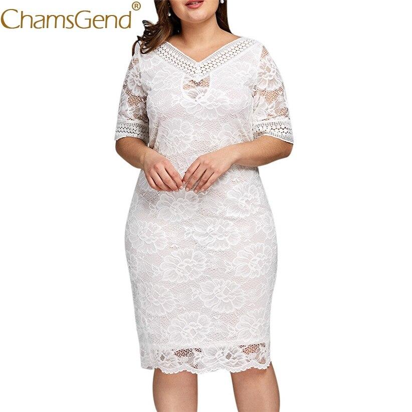 Элегантное женское сексуальное платье с v-образным вырезом и цветочным кружевом с коротким рукавом, белое вечернее платье XL, 2XL, 3XL, 4XL, 5XL, бело...