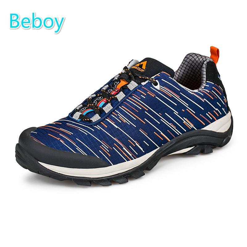 ФОТО Beboy New Resistant Trekking Shoes Sneakers Men Women Waterproof Outdoor Hiking Shoes Non-slip Rubber Sole Camping Sport Shoes