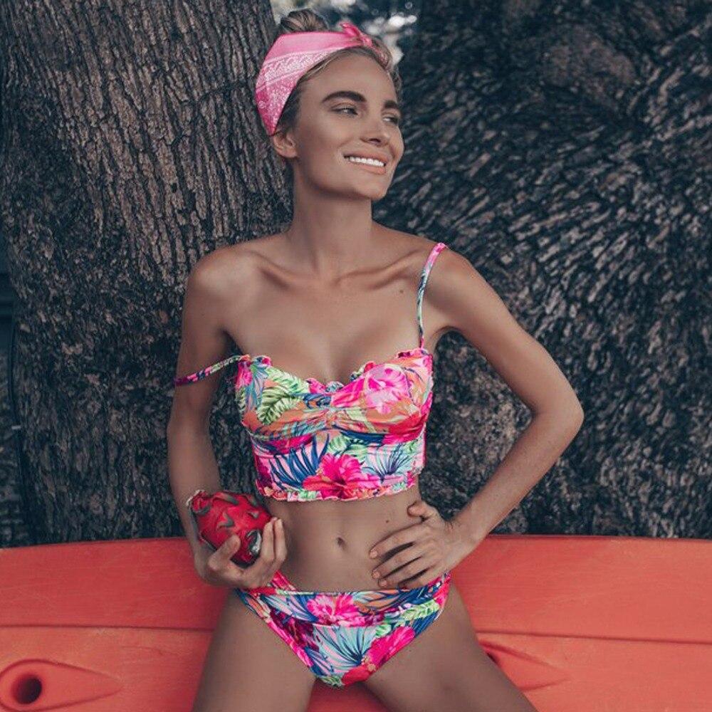 HTB1fSvhadjvK1RjSspiq6AEqXXaa High Waist Swimwear Women Swimsuit 2018 Bikini Bandage Bikinis Set Padded Bathing Suit New Leaf Print Biquini Maillot de bain