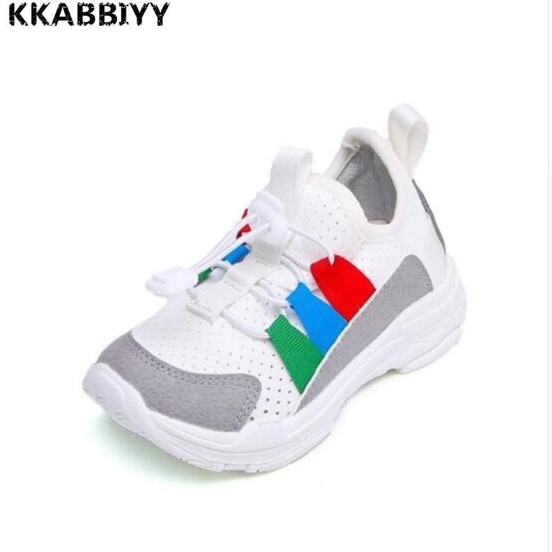 Hot Kids Sport Running Shoes White Sneakers Boys Girls Breathable Air Mesh Children Tennis Basketball Pink Black