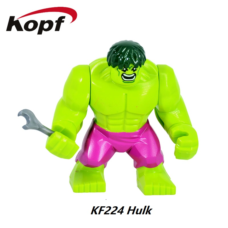 Super Heroes 7CM Hulk Colossus Killer Croc Big Thing Thor Rocket Raccoon Captain America Building Blocks Kids Gift Toys KF224
