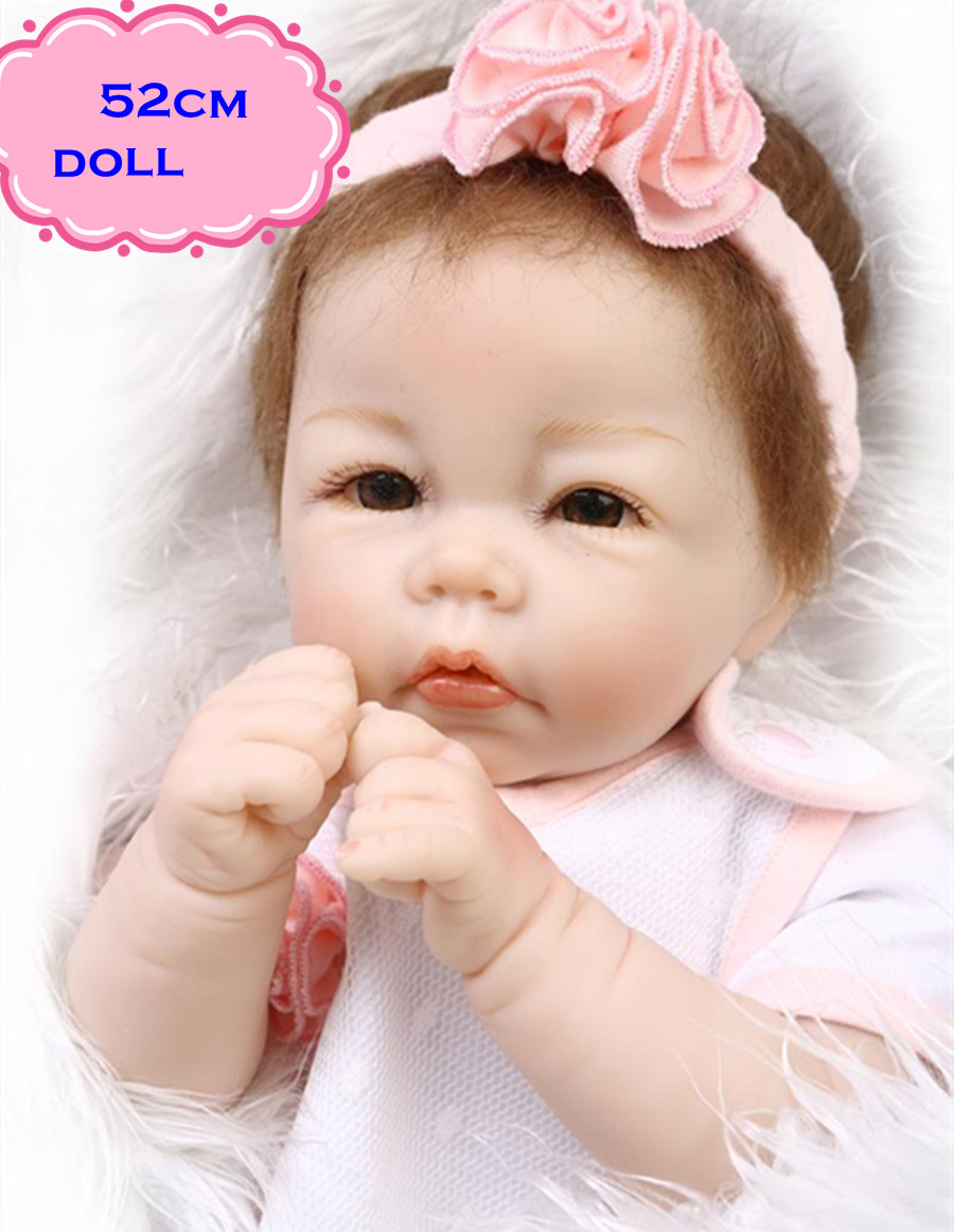 New Popular NPK Silicone Reborn Baby Dolls About 52cm In Lovely Dress Real Looking Doll Baby Brinquedo For Girls Friend's Gift 52cm 21inch npk brand kawaii reborn baby dolls made by 100