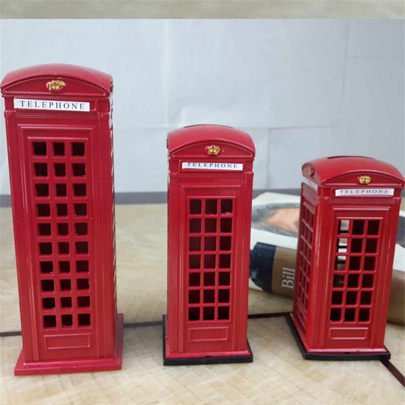 Creative Alloy Red British English London Telephone Booth Bank Coin Bank Saving Pot Piggy Bank Red Phone Booth Box Home Decor