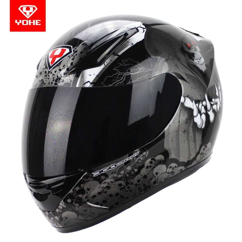 2017 New YOHE full face Motorcycle Helmet Motorbike Racing Helmets made of ABS and PC Lens / visor Model YH-991 size M L XL XXL 2017 new yohe half face motorcycle helmet yh 868 abs motorbike helmet double lens electric bicycle helmets for four seasons