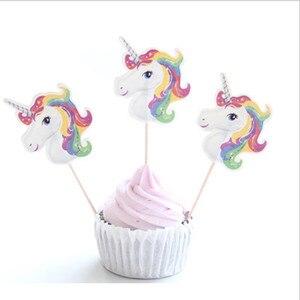 Image 2 - Lote de 24 unidades de insertos para pastel de unicornio, palillos de fruta para pastel de cumpleaños, insertos de materiales de decoración para boda