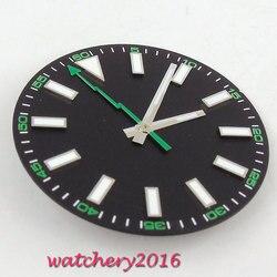 30.8mm czarny zegarek świetlny tarcza + wskazówki nie ma daty do Mingzhu DG2813 ruch