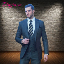 Linyixun 2018 New Arrival 3 Pieces Business Bespoke Grey Classic Wedding Groom Suits For Men Wedding Tuxedos Groomsmen Best Man(China)