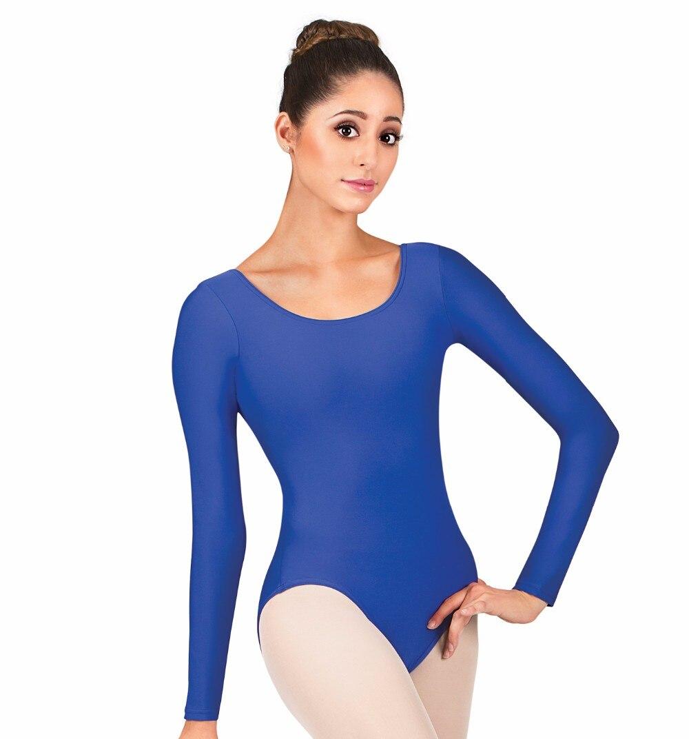 Speerise Adult White Long Sleeve Leotards Deep Red Bodysuit Womens Spandex  One Piece Dance Leotard Dancewear Free Shipping