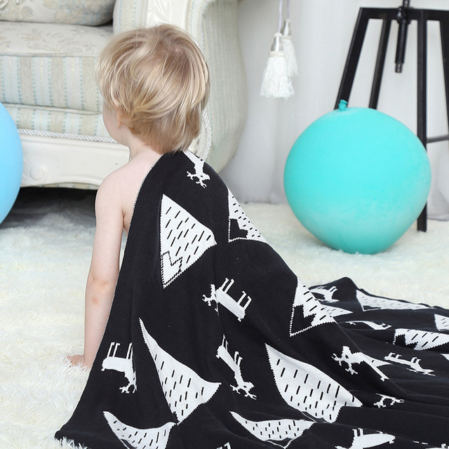 SundayShine High Quality 100% Cotton Knitted Blanket For Baby Knitting Blanket For Kids baby Shower Gifts Cotton Throw Blanket