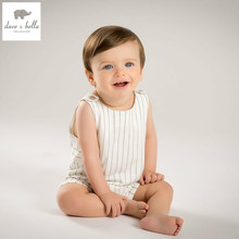 DB5082 dave bella summer new born baby boys cotton romper kids infant romper childs lovely rompers 1 pc children romper