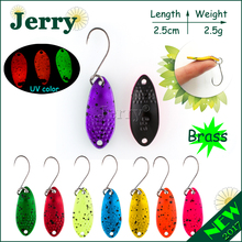 Jerry 1pc ultralight fishing spoons freshwater fishing bait Japanese brass trout spoon lures bright colors