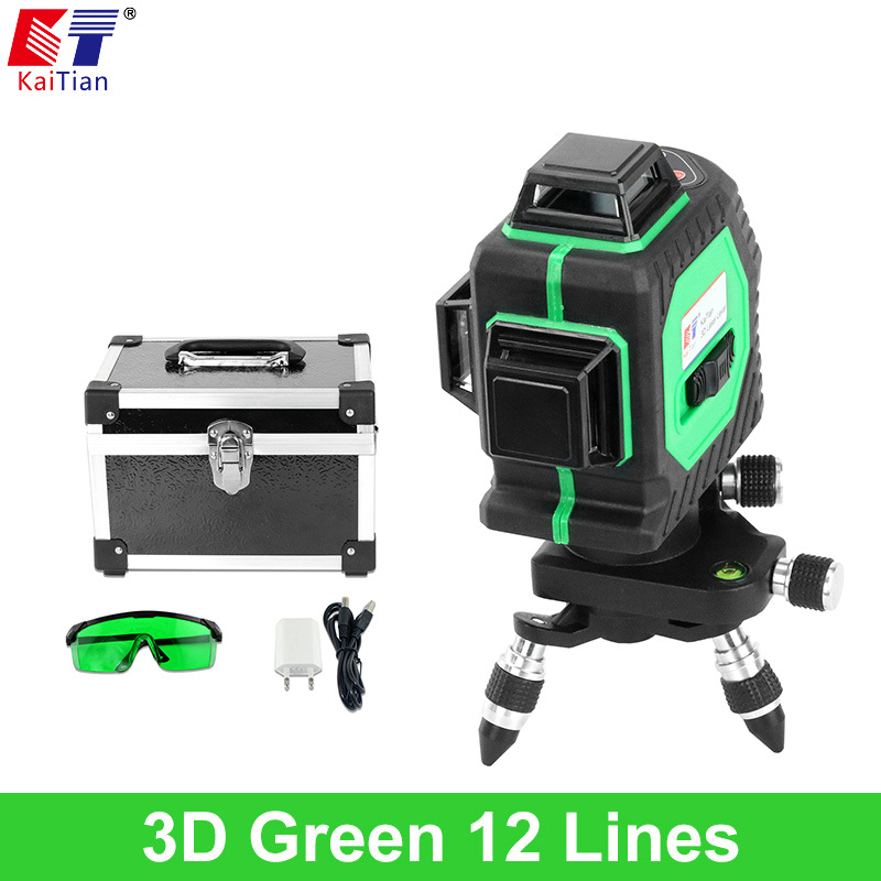 KaiTian 3D Green Laser Level 532nm 12 Lines Cross Level Leveling with 360 Rotary Self Slash Function and Outdoor EU Lazer Levels xgear 360 rotary desktop flexible neck clip holder for 3 5 6 3 cell phones white green 85cm