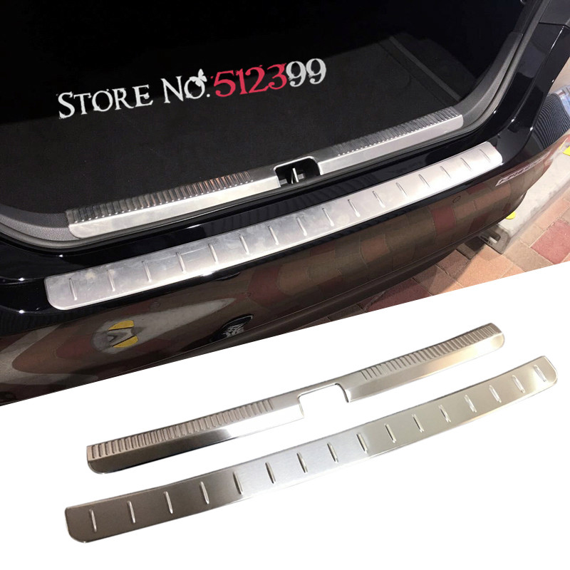 2 Pieces Stainless Steel Car Rear Trunk Boot Inner Outer Rear Bumper Protector Trim For Toyota