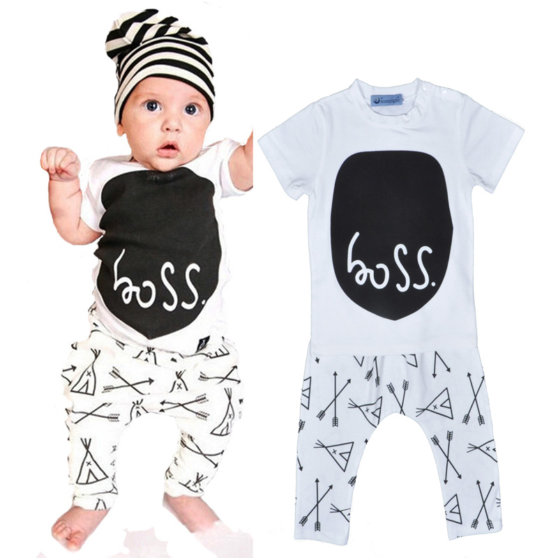 Boss Letter baby boy clothing set white T shirts + pants Arrow Pattern cartoon girl clothing sets Short sleeve vetement enfant cotton cartoon t shirts