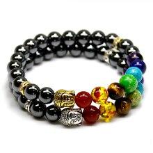 Natural Black Lava/Onyx/Hematite Stone Bead Charm Bracelets Women 7 Reiki Chakra Bracelet Healing Balance Bracelet For Men