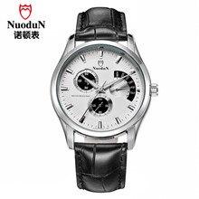 Nuodun Hombre Relojes de Alta Calidad Original de la Marca de Moda de Cuero Genuino Reloj de Cuarzo de Los Hombres A Prueba de agua Reloj de pulsera Noctilucentes