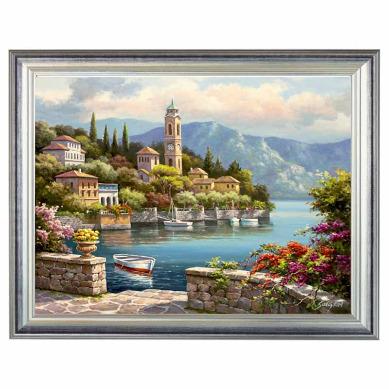 Golden Panno,Needlework,Embroidery,DIY Landscape Painting,Cross Stitch,kits,14ct Village Home Cross-stitch,Sets For Embroidery