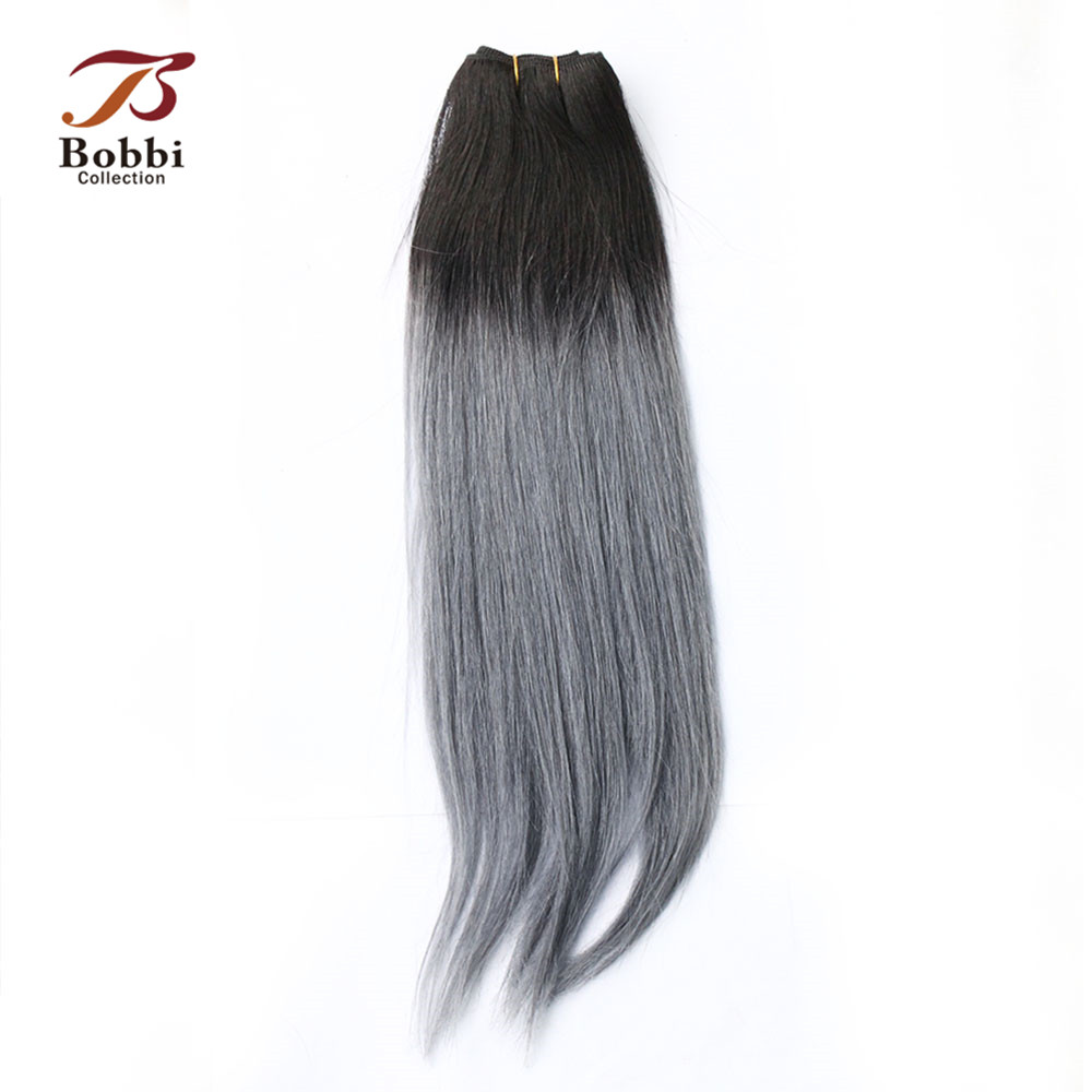Bobbi Collection T 1B Dark Grey 2/3 Bundles Two Tone Ombre Brazilian Hair Weave Bundles Straight Remy Human Hair Extension-in Hair Weaves from Hair Extensions & Wigs    3