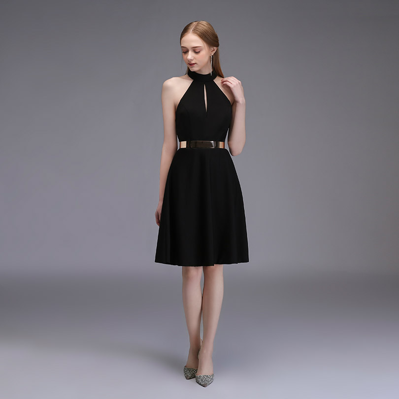 Sexy Little Black Short Cocktail Dresses Halter Satin Knee Length Women Party Dress 2
