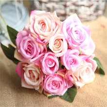Beautiful Rose Artificial Silk Flowers Small bouquet flores Home Party Spring Wedding Decoration Marriage Fake Flower Decor