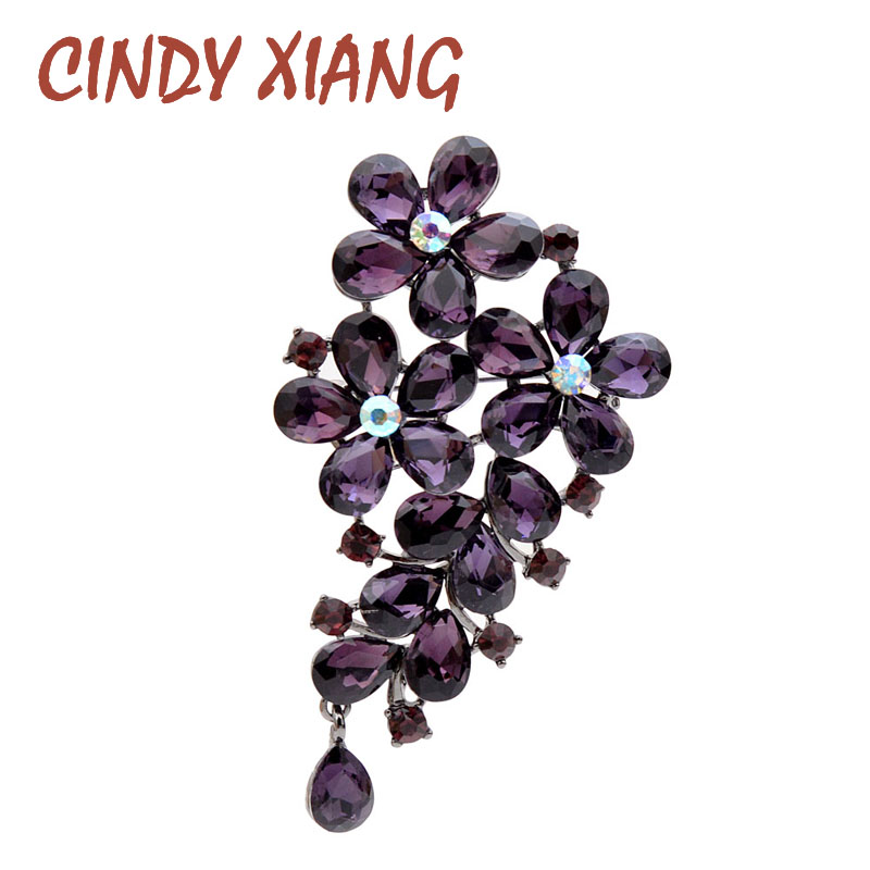 CINDY XIANG Purple Color Crystal Flower Large Brooches For Women Autumn Coat Brooch Pin Elegant Beautiful Fashion Jewelry New