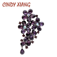 CINDY XIANG Purple Color Crystal Flower Large Brooches For Women Autumn Coat Brooch Pin Elegant Beautiful Fashion Jewelry New cindy xiang purple color crystal flower large brooches for women autumn coat brooch pin elegant beautiful fashion jewelry new