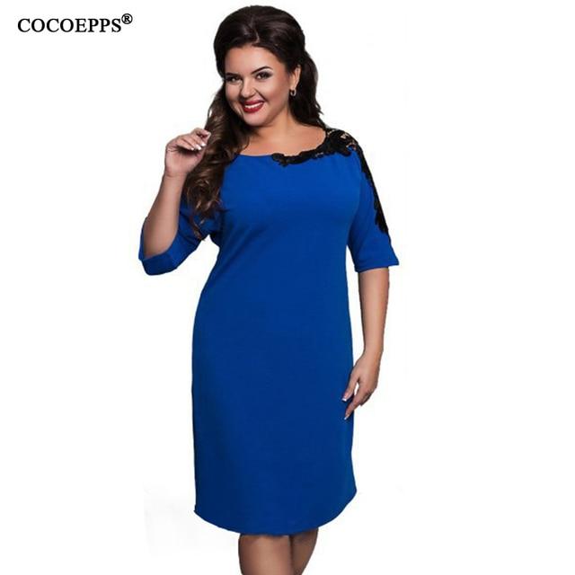 COCOEPPS Elegante Spitze frauen kleider große größen beiläufige lose ...