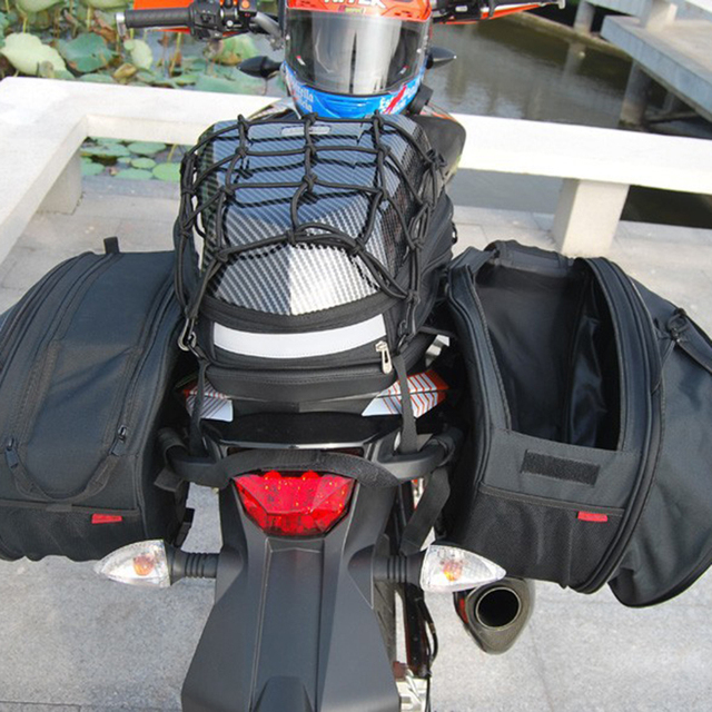 Black Color Oxford Motorcycle Saddle Bag Saddlebags Luggage Suitcase Rear Seat With Waterproof