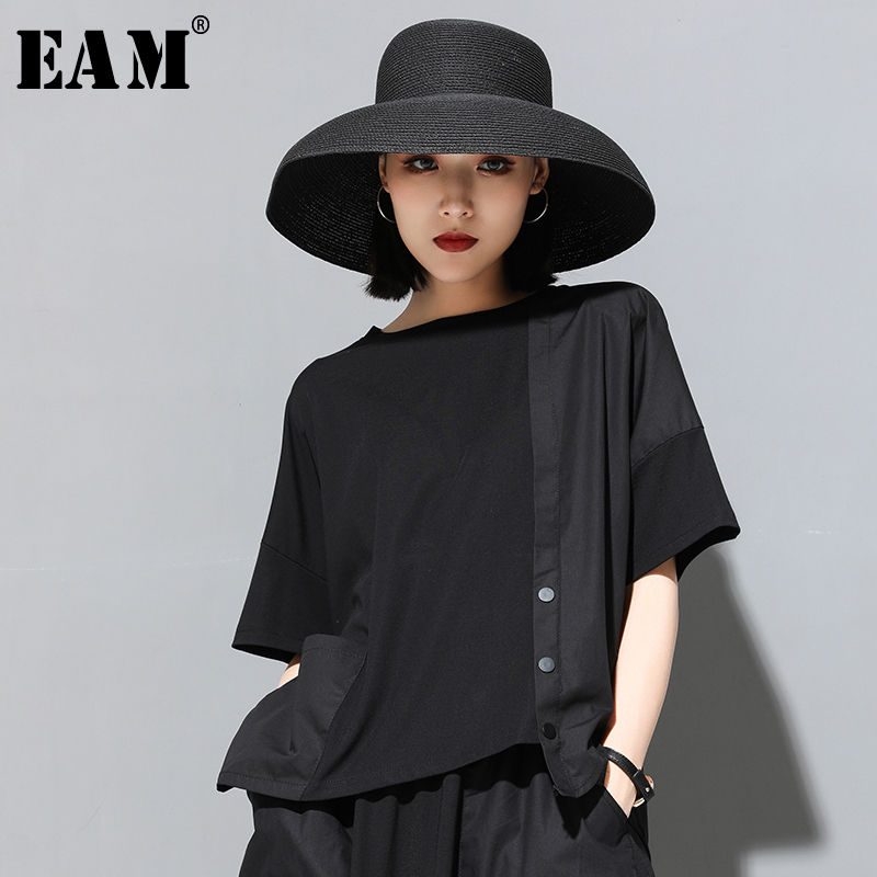 [EAM] 2020 New Spring Summer Round Neck Half Sleeve Black Button Split Joint Loose Big Size T-shirt Women Fashion Tide JX500 1