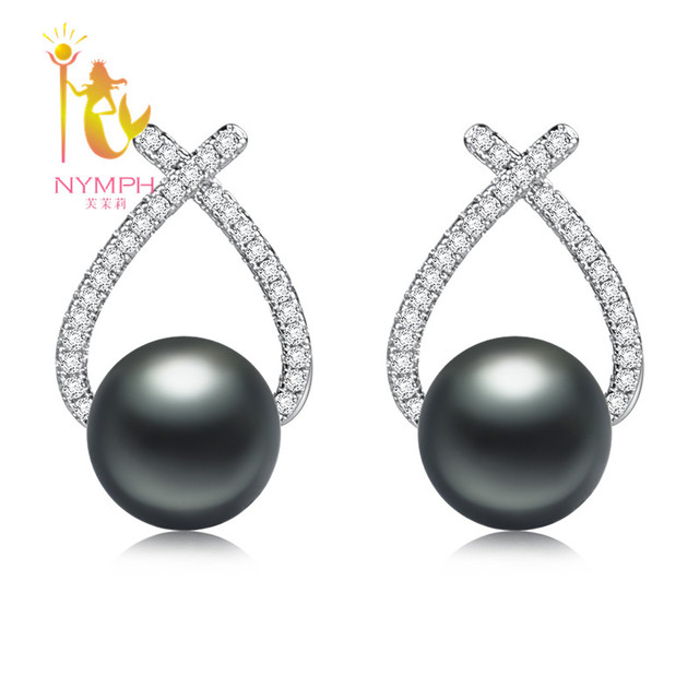 Nymph Clic Black Pearl Drop Earring 925 Sterling Silver Jewelry Trendy Freshwater Bijoux For