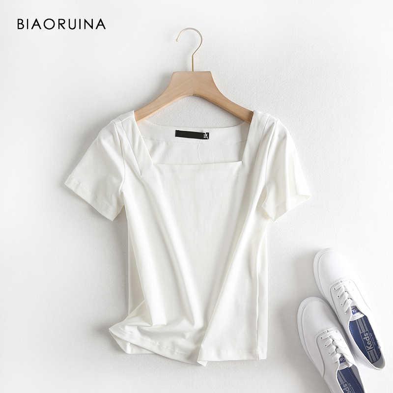 3 цвета BIAORUINA Женская Повседневная Однотонная футболка квадратный рукав короткий