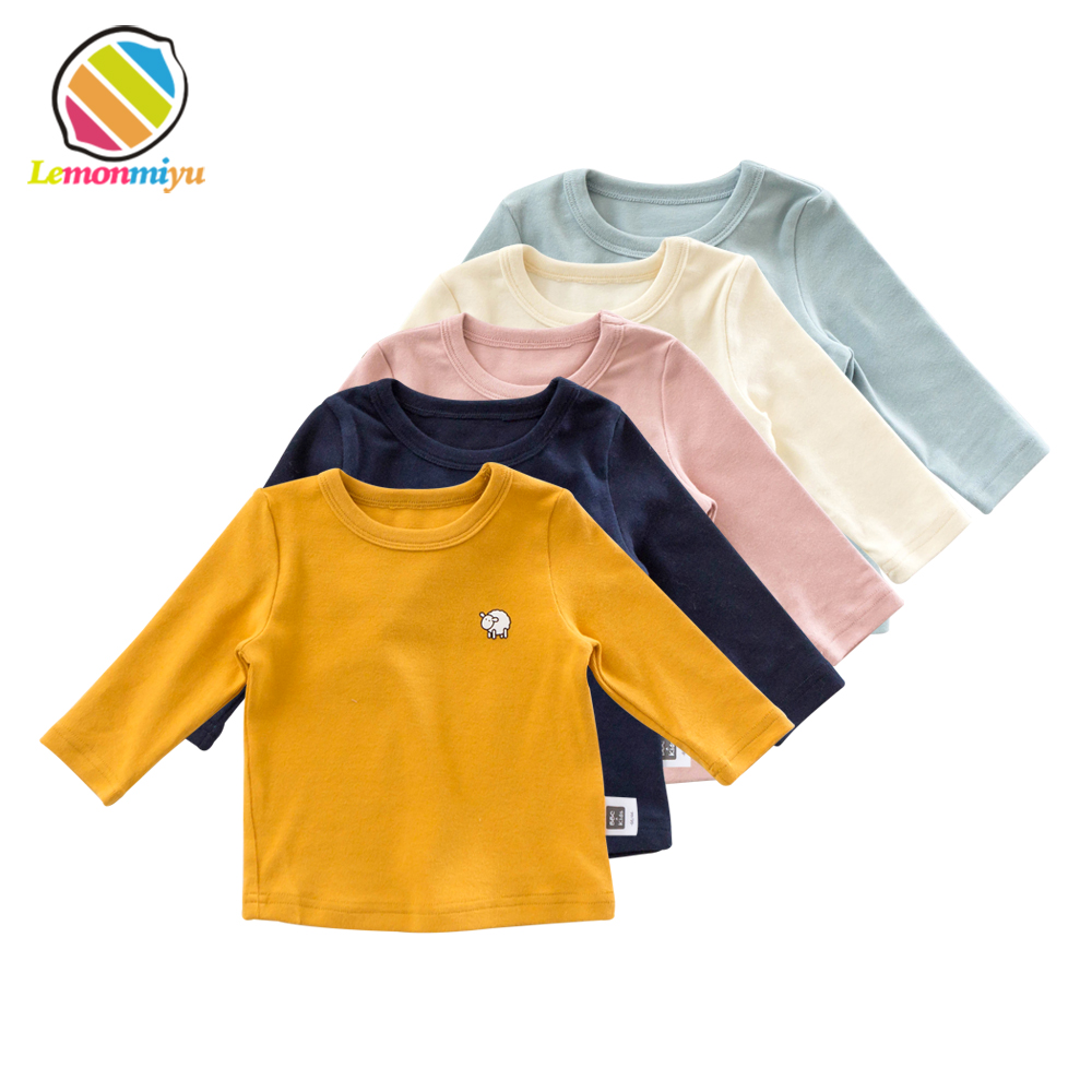 Lemonmiyu Baby Cotton Spring T-Shirts Toddler Solid O-Neck Animal Tops Full Sleeve Soft Sweatershirts Cartoon Autumn Kids Tees