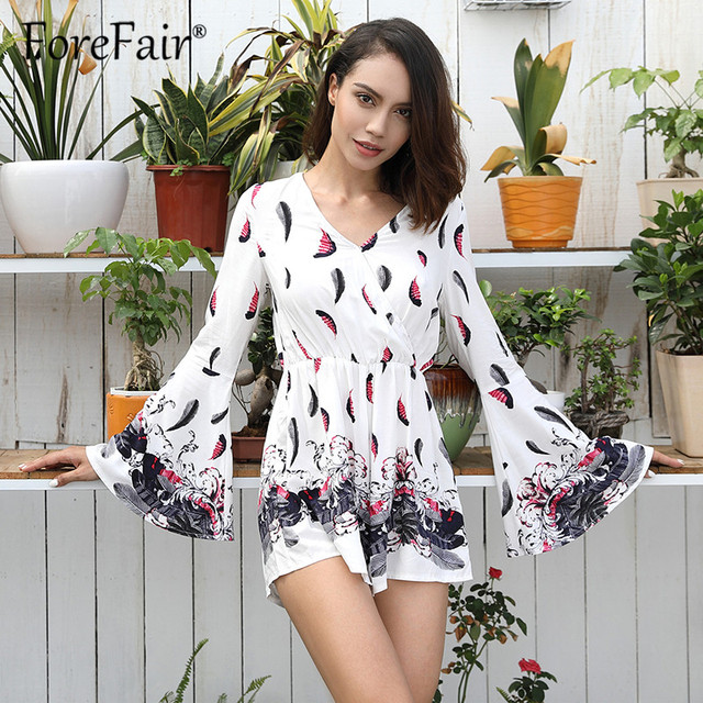 53f4689c4c3 Forefair 2018 Boho Print Playsuits Women Overalls Long Flare Sleeve V Neck  Wrap Loose Rompers Womens