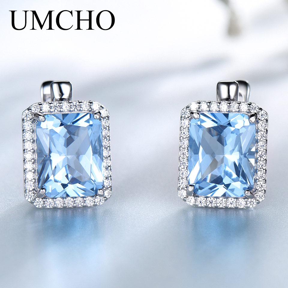 UMCHO Luxury Nano Sky Blue Topaz Gemstone Clip On Earrings Jewelry Solid 925 Sterling Silver Earrings For Women  Birthday Gift