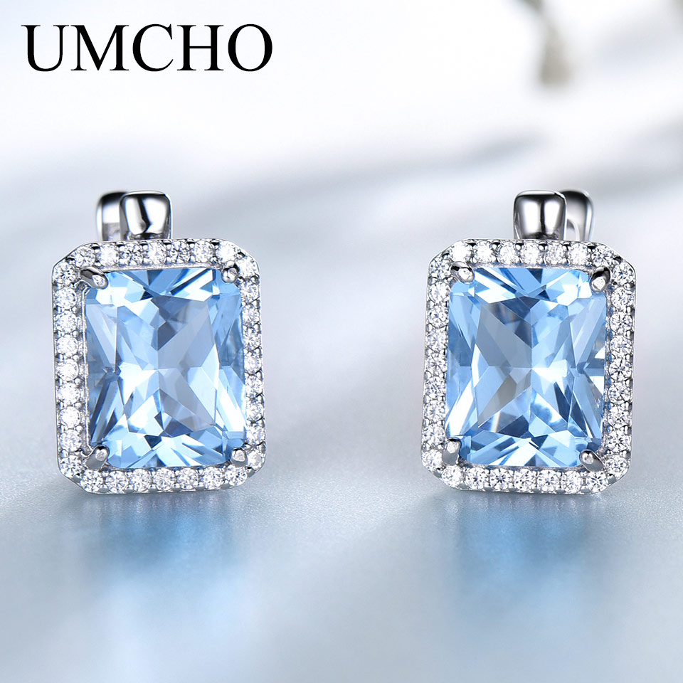 UMCHO Luxury Nano Sky Blue Topaz Gemstone Clip On Earrings Jewelry Solid 925 Sterling Silver For Women  Birthday Gift