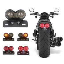 поворотники на мотоцикл Мотоцикл поворота тормоз светодиодные Номерной знак держатель хвост фонари светодиодные Стоп Хвост Лампы для Harley Bobber CAFE RACER ATV
