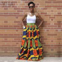 Yilia 2018 Bohemian Vintage Women Skirt Summer African Print Clothing Stretch Elastic Floor Length Boho Maxi