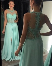 2016 Trendy Mint Green Prom Kleider perlen spitze appliques abendkleid A-Line frontseiten-schlitz robe de soiree partei-kleid