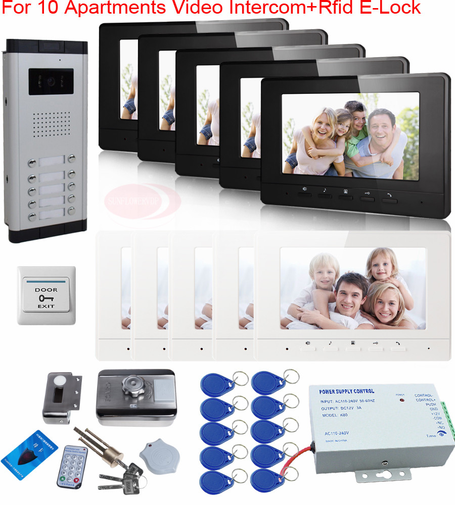 Newest Video Door Phone With Video Intercom For 10 Apartments+Rfid Electric Lock+7inch Tft Color LCD+Access Control Power Supply 12 apartments placa de video door phone intercom rfid door access control system with 7 inch lcd display