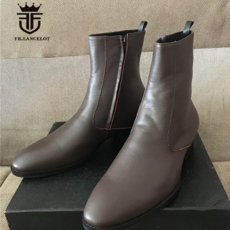 FR.LANCELOT new 2019 men boots dark brown booies zip up real leather shoes men mujer botas party shoes mens walking bootsFR.LANCELOT new 2019 men boots dark brown booies zip up real leather shoes men mujer botas party shoes mens walking boots