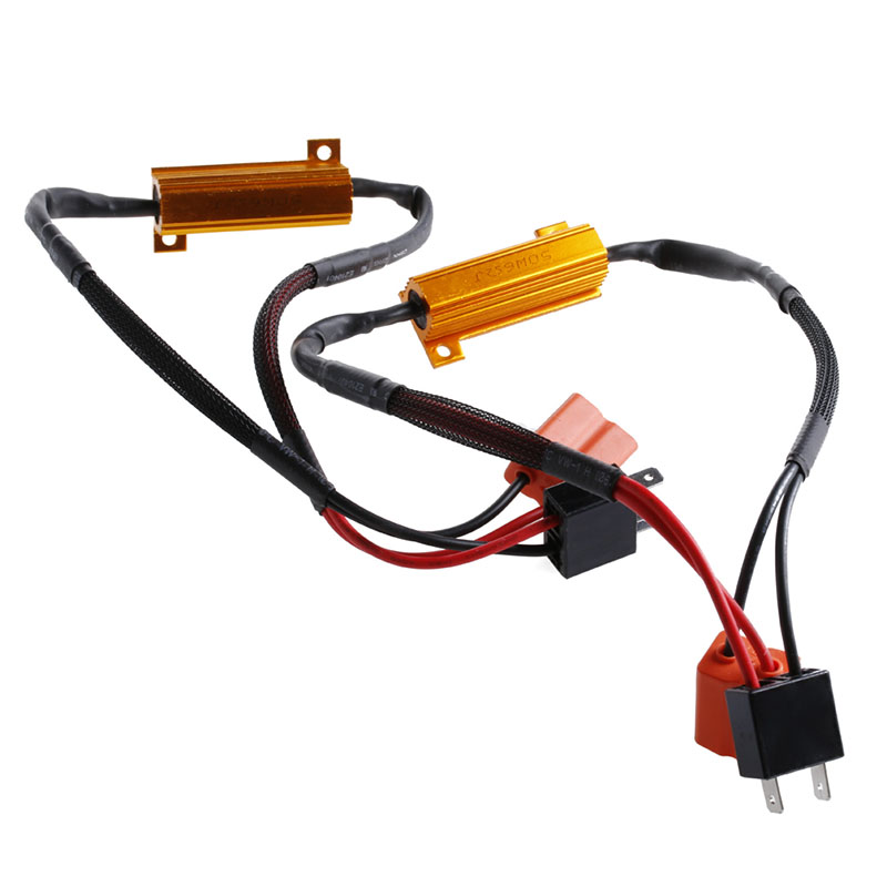 2Pcs H7 50W 6Ohm LED DRL Fog Light CAN Load Resistor Wiring Harness Dc Wiring Harness Led on