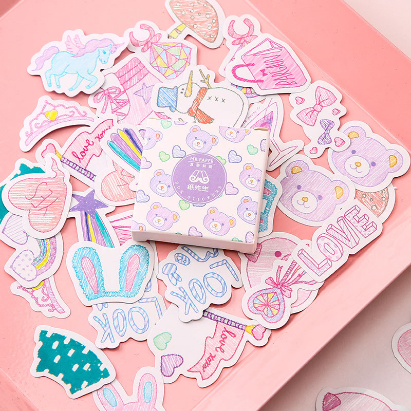 40 Pcs/pack Multi Colorful Series Bullet Journal Decorative Stationery Stickers Scrapbooking DIY Diary Album Stick Label