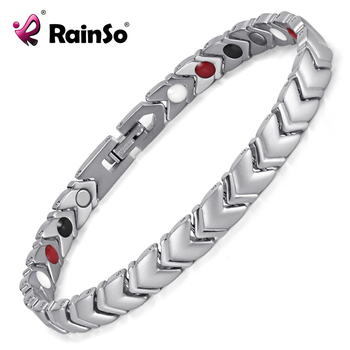 Rainso Pure Titanium Healing Magnetic Power Bracelet Bangle For Women with 4 Elements Health Therapy Accessories OTB-034SFIR 1