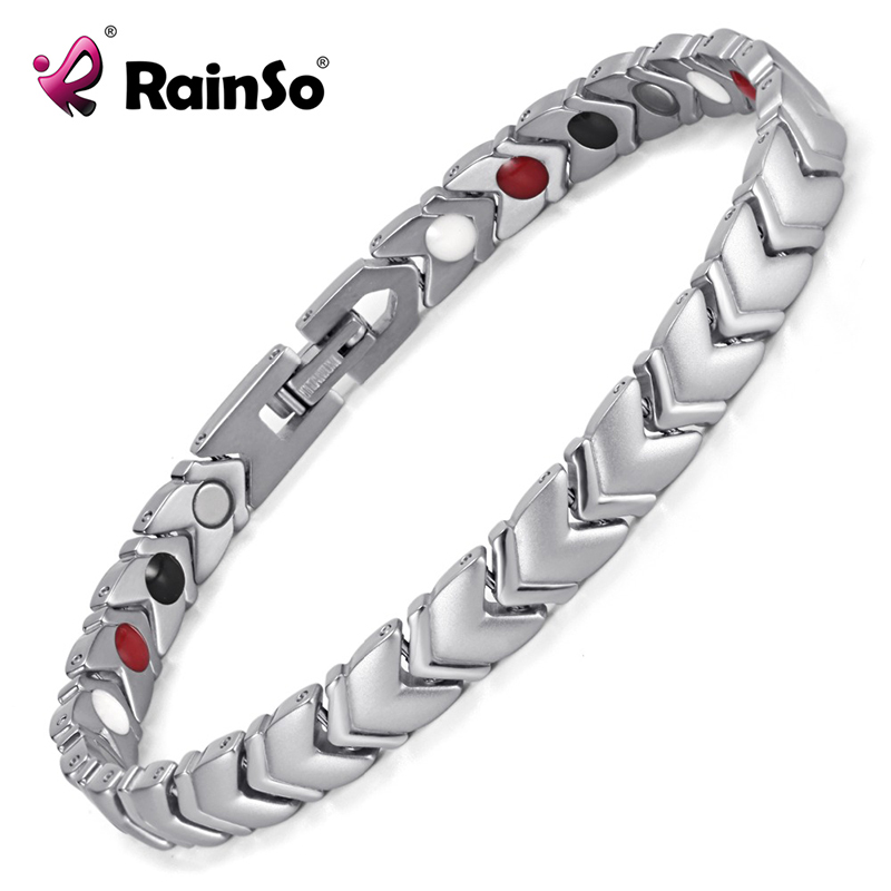 Rainso Pure Titanium Healing Magnetic Power Bracelet Bangle For Women with 4 Elements Health Therapy Accessories OTB-034SFIR