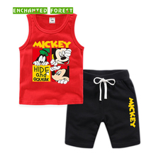 Boy Set 2019 Summer Childrens Cartoon Cotton Breathable Comfort Sports Vest T-Shirt Shorts Baby Kids suit 1-8Y