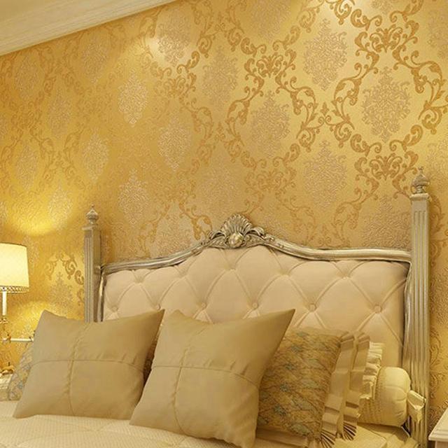 Vlies Europäischen Glänzend Stilvolle Blau Beige Gold Weiß Damast ...
