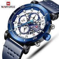NAVIFORCE Mens Military Sport Watch Top Luxury Brand Men Leather Chronograph Quartz Wrist Watch Male Waterproof Date Clock