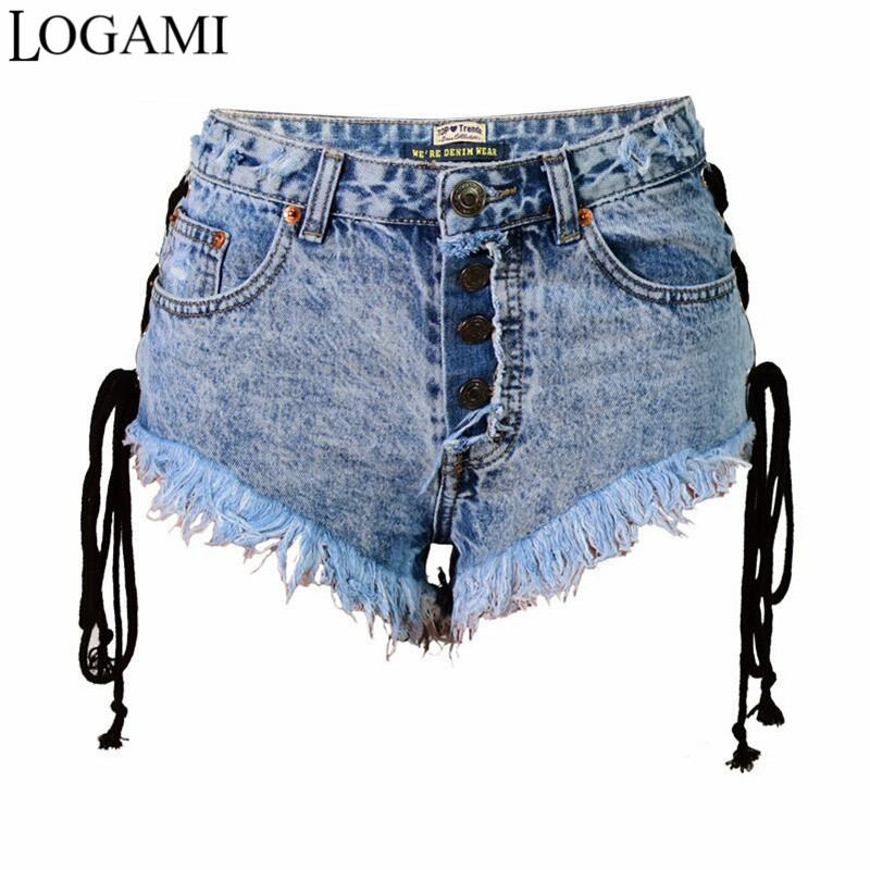 cab541287d LOGAMI High Waist Sexy Denim Shorts Women Shorts Summer Micro Mini Jean New  Arrival Short Mujer 2017